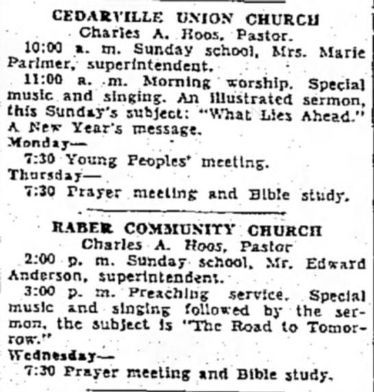 - CEDASVILLE UNION CHURCll Charles A. Hoos....