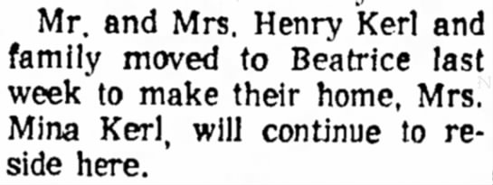 Kerl, Henry move 19 Sep 1966