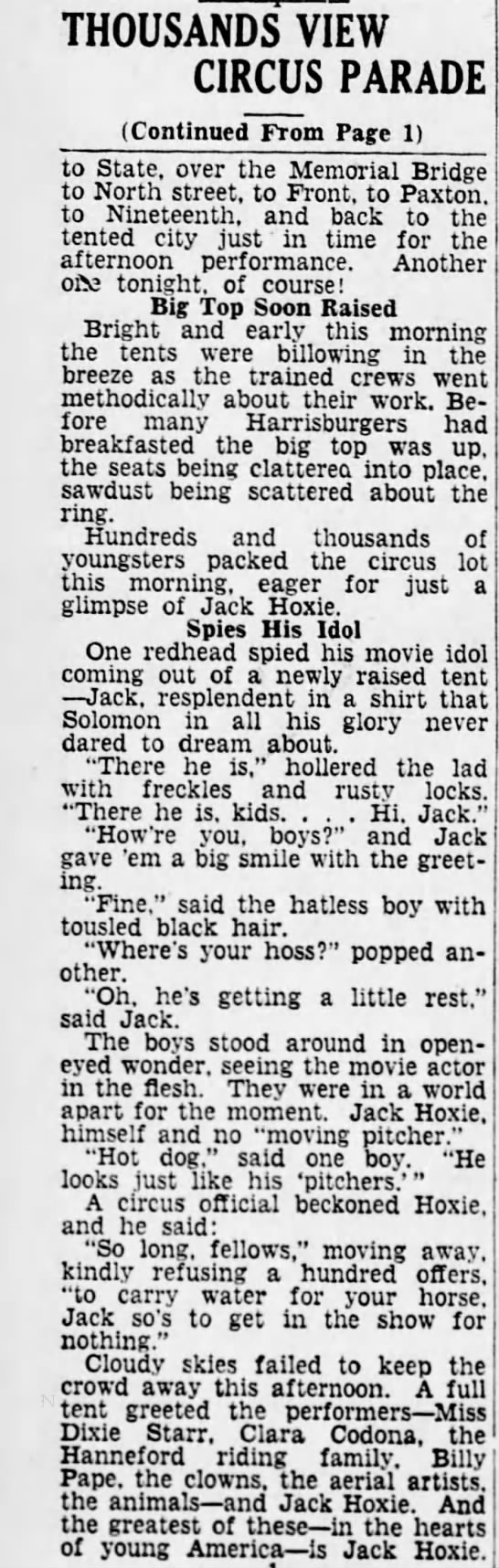 Sparks Article P2 5-9-1933 - THOUSANDS VIEW CIRCUS PARADE (Continued From...