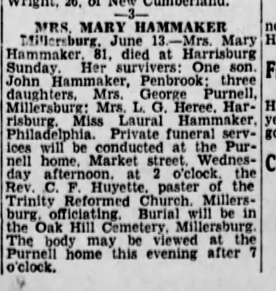 mary hammaker obit 1933 son john - 3 MRS. MARY 1IAMMAKF.R T.!i'l;r:burg. June 13....