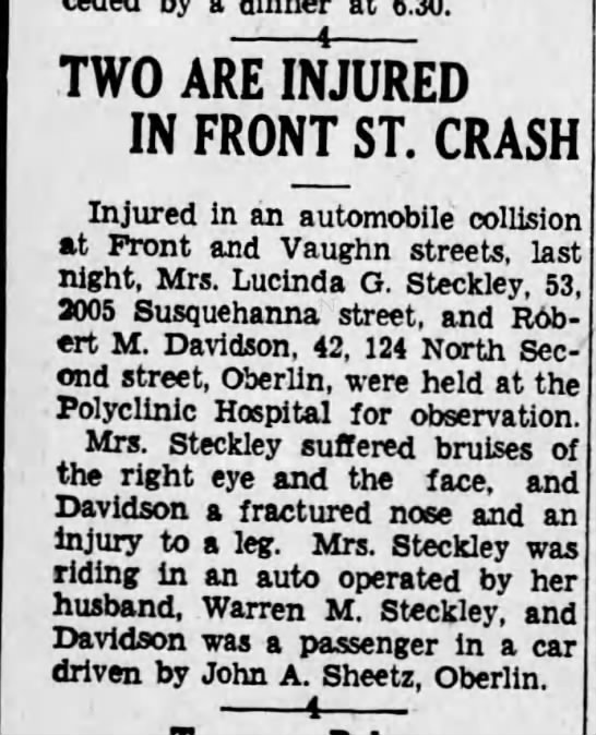 - a 6.30. ( TWO ARE INJURED IN FRONT ST. CRASH...