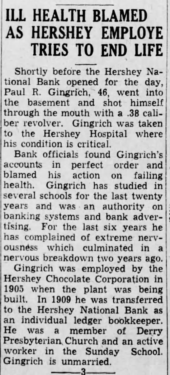 Harrisburg Telegraph Harrisburg Pennsylvania  Monday 15 November 1937 - ILL HEALTH BLAMED AS HERSHEY EMPLOYE TRIES TO...