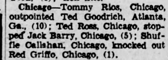 "Centracchio (Ted) aka ""Ross"" - Chicago Tommy Rlos, Chicago, outpointed Ted..."