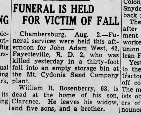 Harrisburg Telegraph (Harrisburg, PA) 2 August 1938 - picnic TJ! 1 - its FUNERAL IS HELD FOR VICTIM...