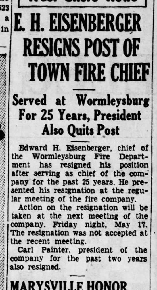 Worm 35-5-7 resignations - 623 a in E. H. EISENBERGER RESIGNS POST OF TOWN...