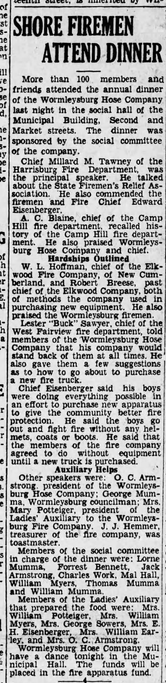 Worm 33-1-24 banquet - of of - - be - of E. a - SHORE FIREMEN ATTEND...