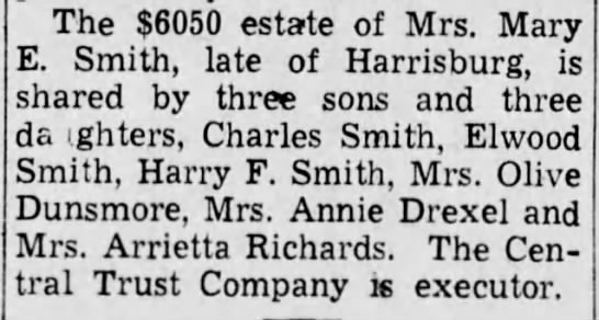 - The $6050 estate of Mrs. Mary E. Smith, late of...