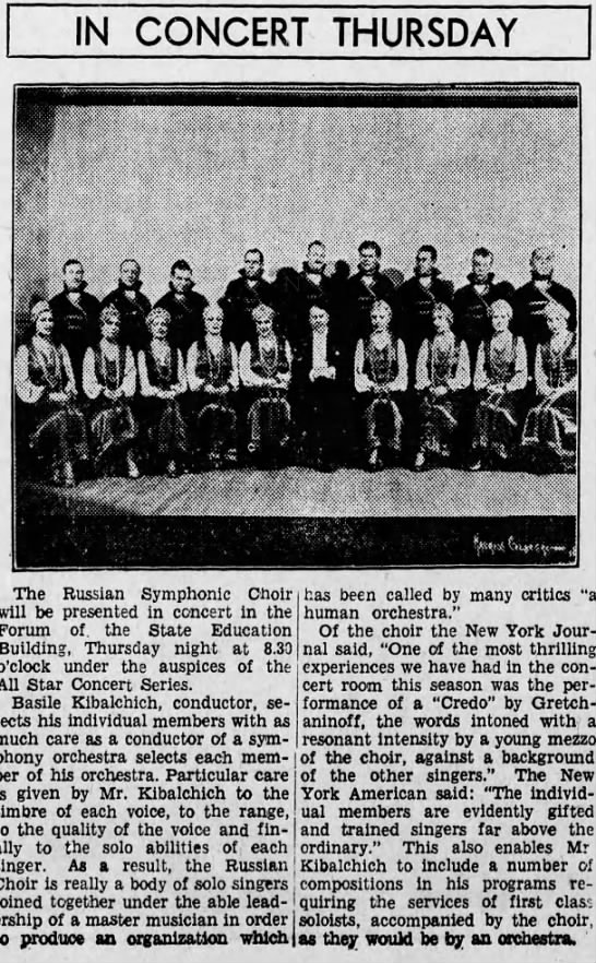 Kibalchich in Harrisburg, Pennsylvania, Feb.17, 1934 - IN CONCERT The Russian Symphonic Choir will be...