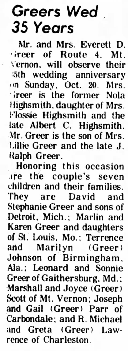 Nola Highsmith Greer 35th anniversary - Greers Wed 35 Years Mr. and Mrs. Everett D....