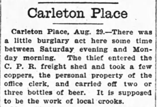 - Carleton Place Carleton Place, Aug. 29. There...