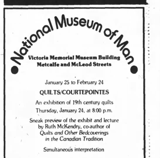 Ruth McKendry's quilt collection at Museum of Man, 17 Jan 1980 - AlAuseu7, o Victoria Ncarortal naacaai Duuaing...
