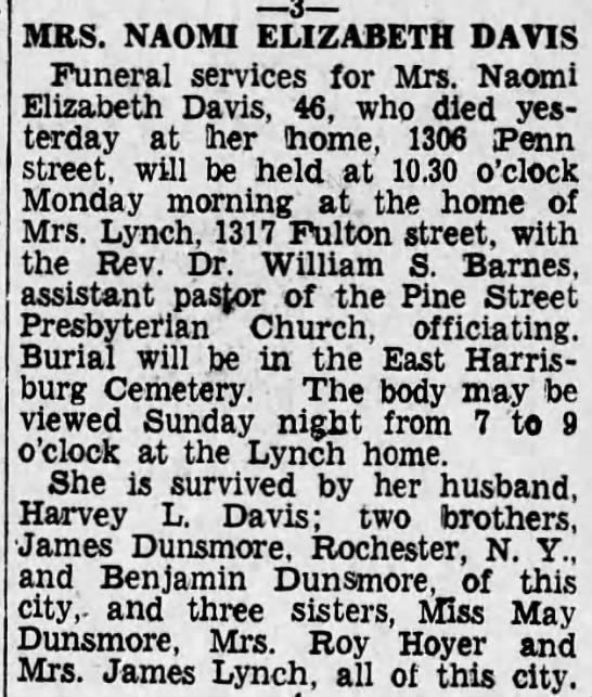 - MRS. NAOMI ELIZABETH DAVIS Funeral services for...