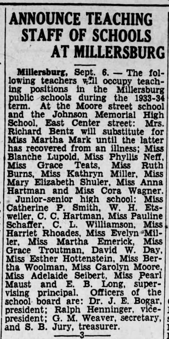 Teaching Staff of Moore St and Johnson Memorial? High School. - ANNOUNCE TEACHING STAFF OF SCHOOLS AT...