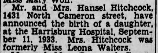 Hansel and Carrie birth announcement - Mr. and Mrs. Hansel Hitchcock. 1431 North...