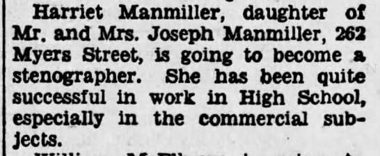 - Harriet Manmiller, daughter of Mr. and Mrs....
