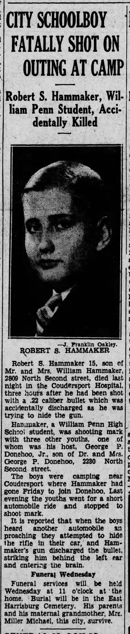 robert s hammaker accident shooting 1915- 1930 father william  - CITY SCHOOLBOY FATALLY SHOT ON OUTING AT CAMP...
