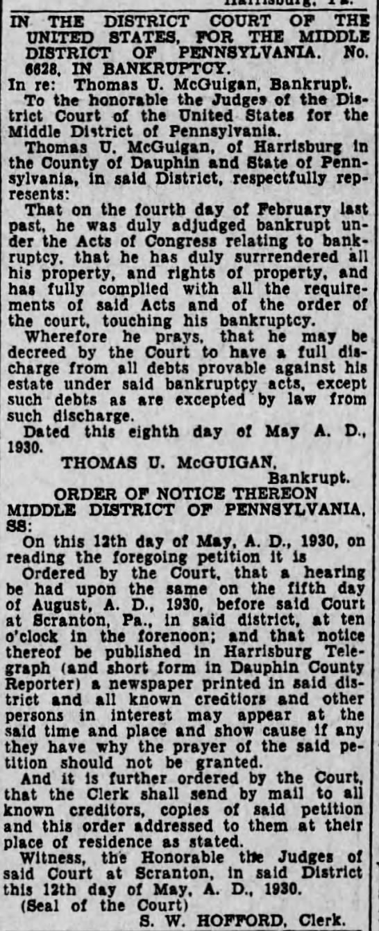 Thomas McGuigan Bankruptcy1879-1951 - JS THE DISTRICT COURT OF THE UNITED STATES, FOR...
