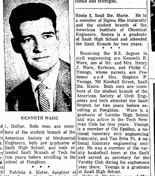 the evening news_sault_ste.Marie MI_06June1957_pg15 - KENNETH WARE , Dafter. Both men are mem- )ers...