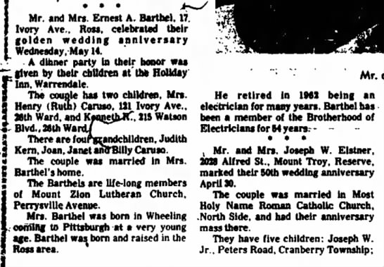 Lil and Erny Barthel golden anniversary. Published 21 May, 1969 - · · · Mr. and Mrs. Ernest A. Barthel, 17....