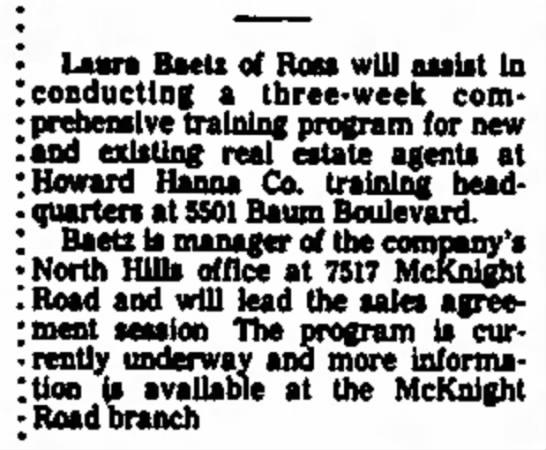 5501 Baum Blvd - · TM^^^^TM ' Laura Baeti of Ross will assist I...