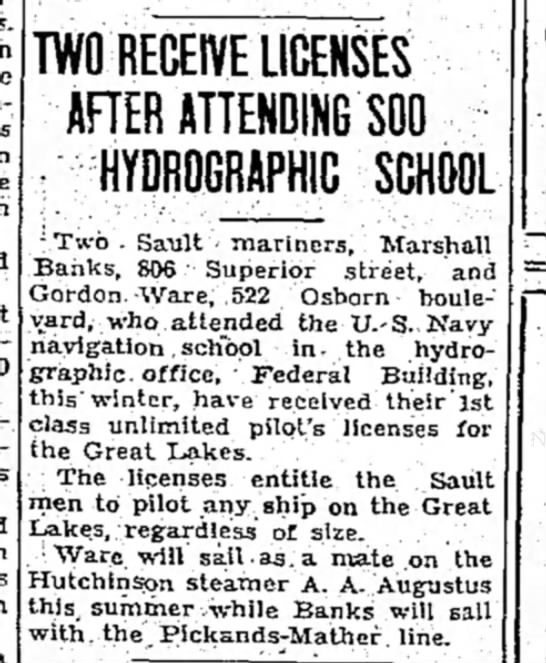 the evening news_sault ste. marie, mi_09March1937_pg3 - TWO RECEIVE LICENSES AFTER ATTENDING SOO :...