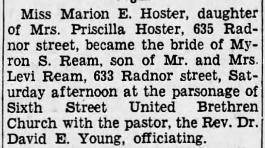 - Miss Marion E. Hosier, daughter of Mrs....