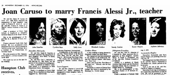 caruso-alessi engagement - 28 WtDNESDAY, DECEMBER 13, 1976 NEWS RECORD...
