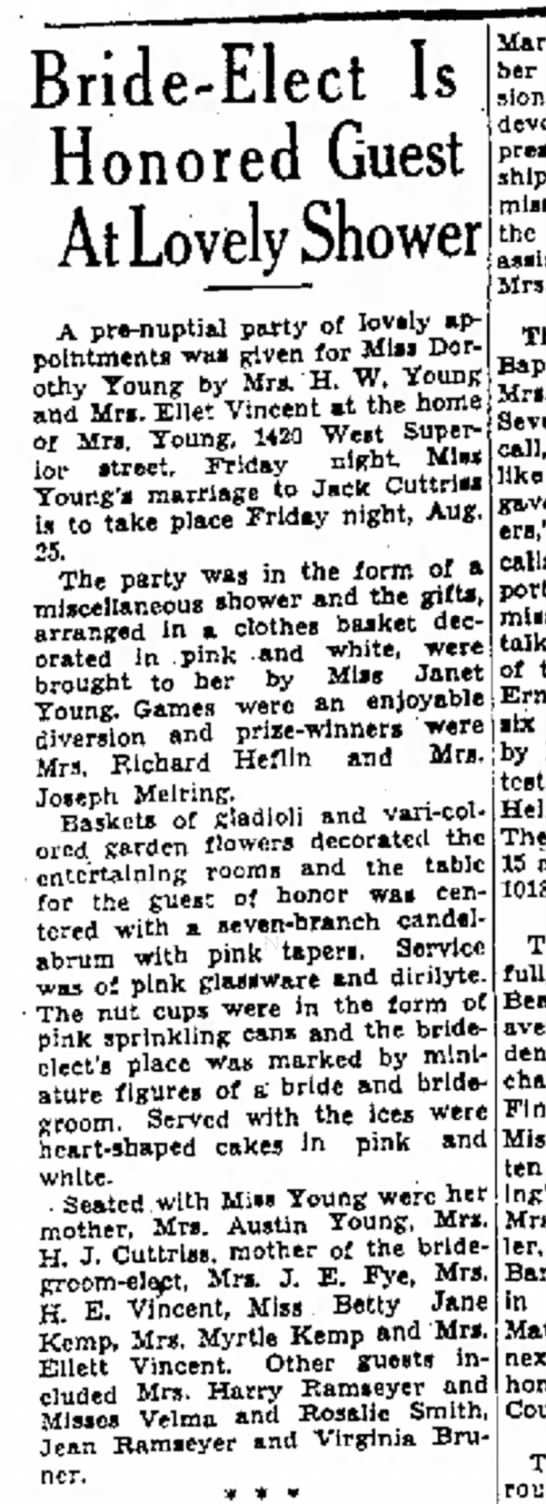 Young Cuttriss 19 Aug 1939 - Bride-Elect Is Honored Guest At Love ower A...