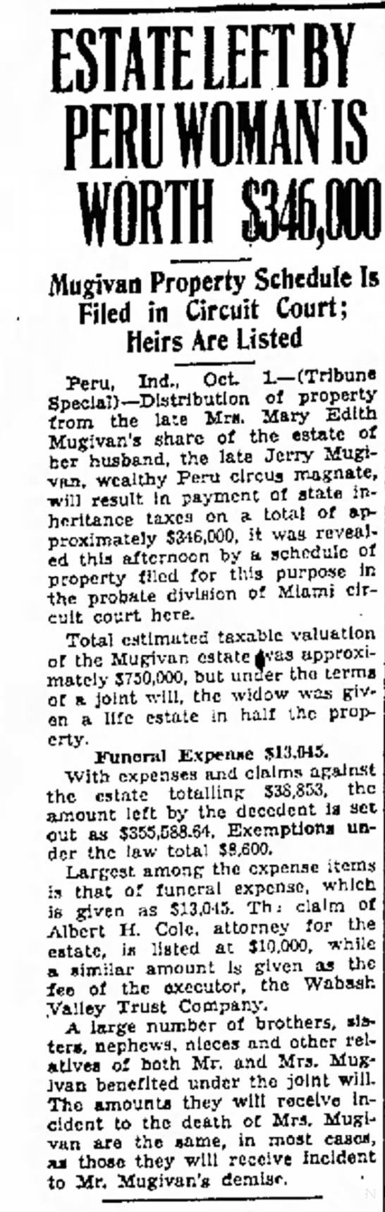 Mugivan Estate 10-2-1937 - ESTATE LEFTBY Pfl I Alugivan Property Schedule...