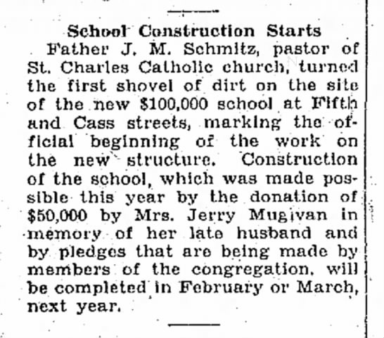 Mugivan School 6-7-1930 - School Construction Starts Father J. M....