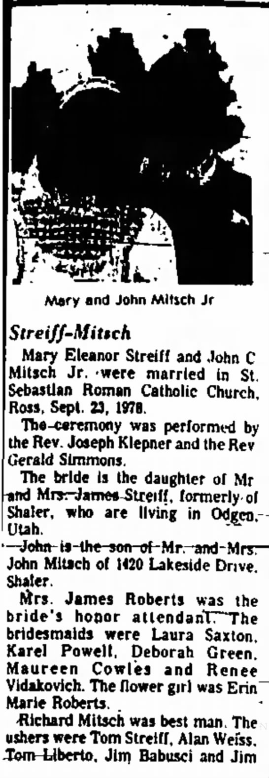 Part 1 - Mary and John Mltich Jr Streiff-Mitich Mary...