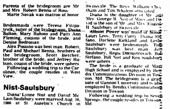 Diana Lynne Nist, wedding announcement, News Record, North Hills, PA, September 2, 1986
