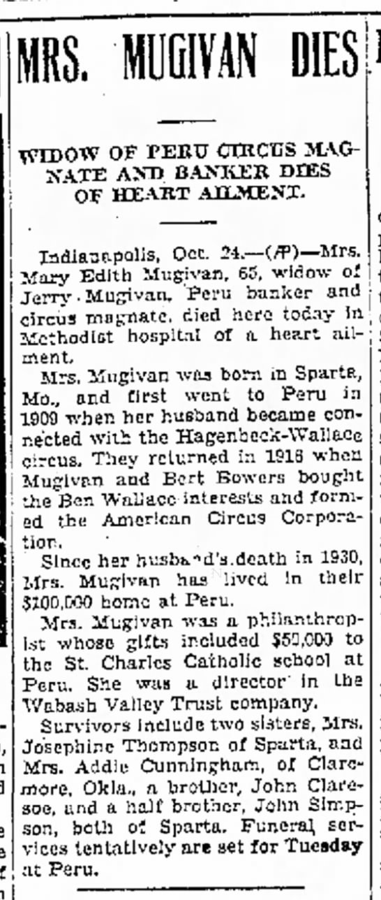 Mugivan Mary Obit