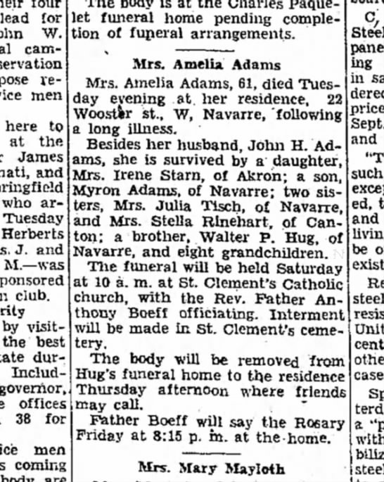 Interesting, another Amelia Adams died same day? - plead for W. campaign, re- men here to at the...