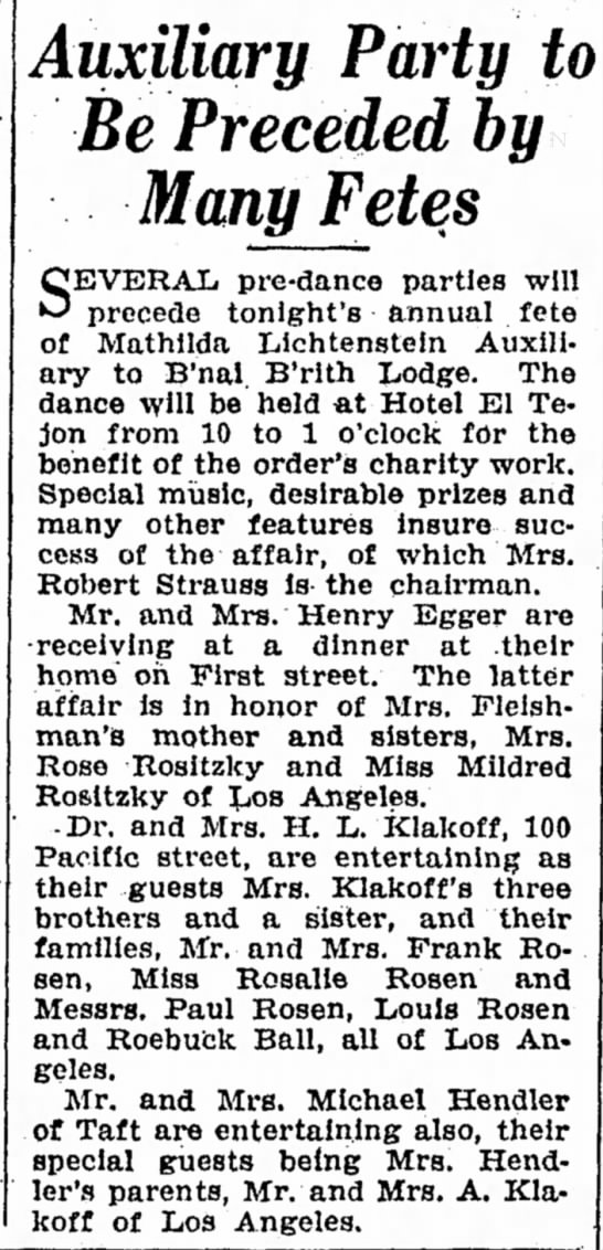 25 Nov 1939 Bakersfield - Auxiliary Party to Be Preceded by Many Fetes...