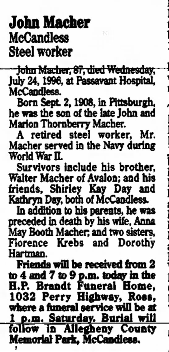 John Macher Obituary 1996 - Heinz positions 1959. John Macher McCandless...