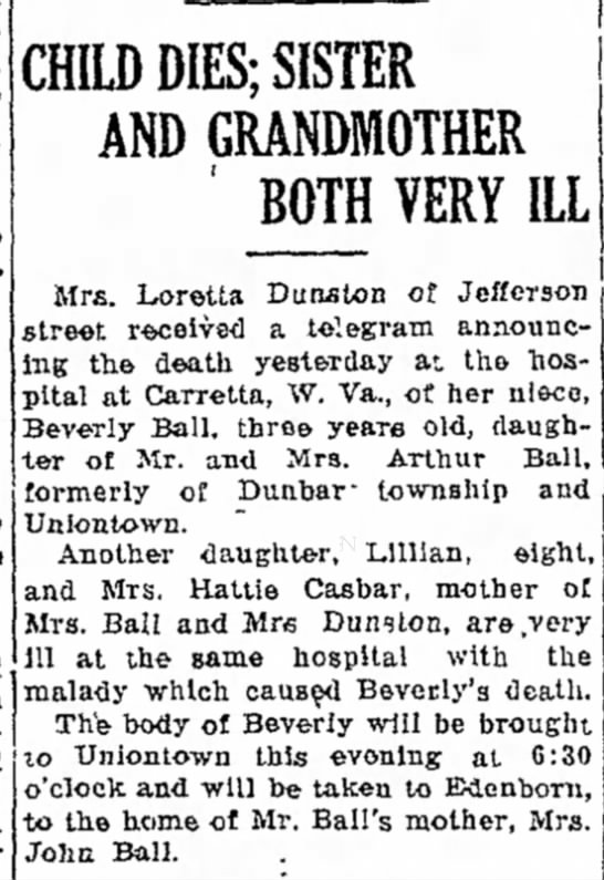 Beverly Ball dies, grandmother Hattie Casbar is ill - for of Many, and to the- received CHILD DIES;...