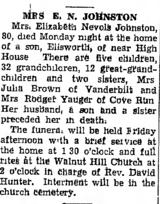 The Daily Courier, Connelsville, PA % December 1945 - home, MRS E. N. JOHNSTON Mrs. Elizabeth Nevols...