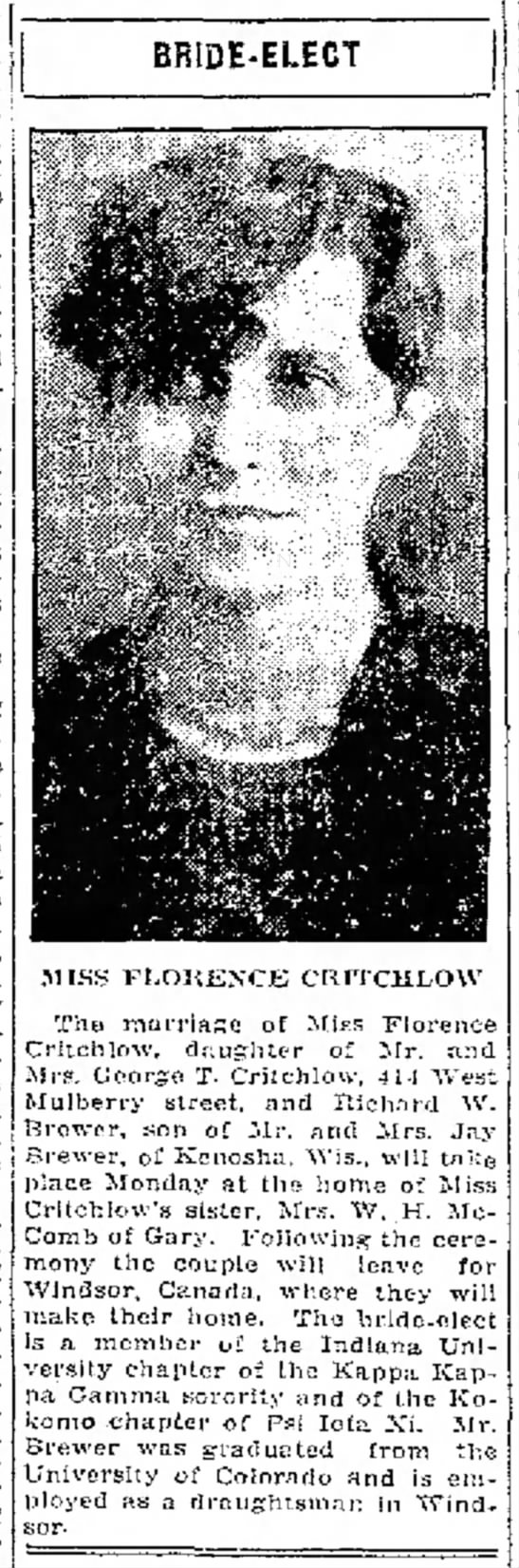 Florence Critchlow & Richard W Brewer Marriage Announcement More Research - j B. | j | j Katharyn I of | interest n o w n ....