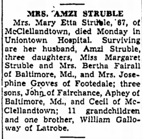 Mary Etta Galloway 1948 Obit - Henry the MRS. AMZI STKUBLE Mrs. Mary Etta...