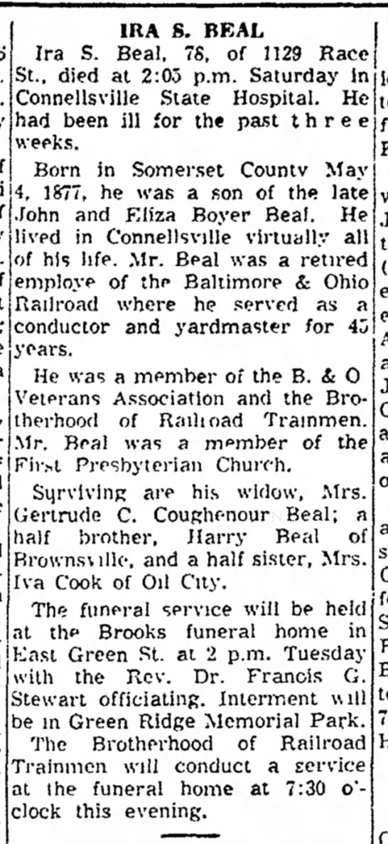 Ira S. Beal obit 2 April 1956 - p.m. of 4, 1877, he was a son of th* late of 1...