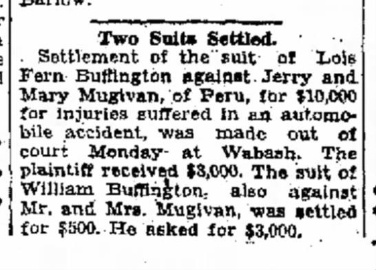 Mugivan Auto Settlements10-16-1929 - hour Two Suit* Settled. Settlement of the' suit...