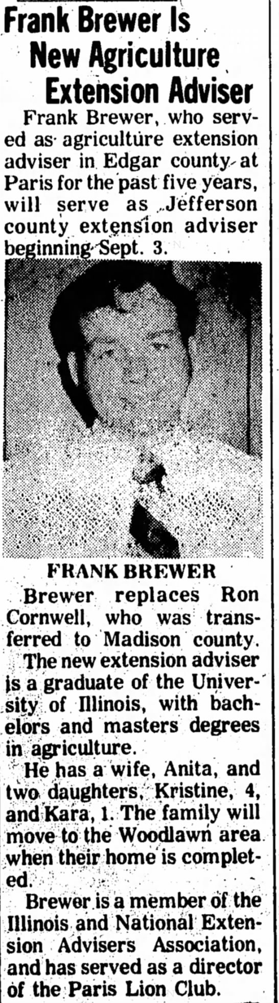 1974 Aug 23 Frank Brewer Replaces Ron - Frank Brewer Is New Agriculture Extension...