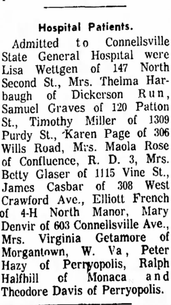 james casbar admitted to hospital the daily courier page 1 april 7 1967