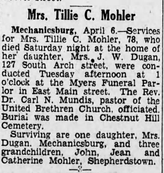 - Mrs. Tillis C. Mohler ' Mechanicsburg, April 6....