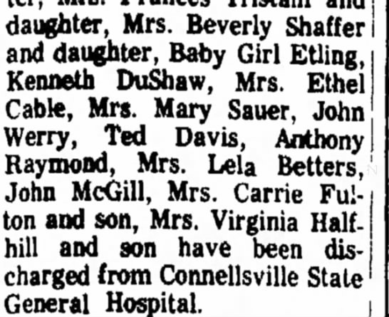 hospital discharge - daughter, Mrs. Beverly Shaffer and daughter,...