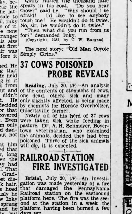 Horace Neiman Overholtzer cows poisoned - be the lat side to Inky of it. now stranger...