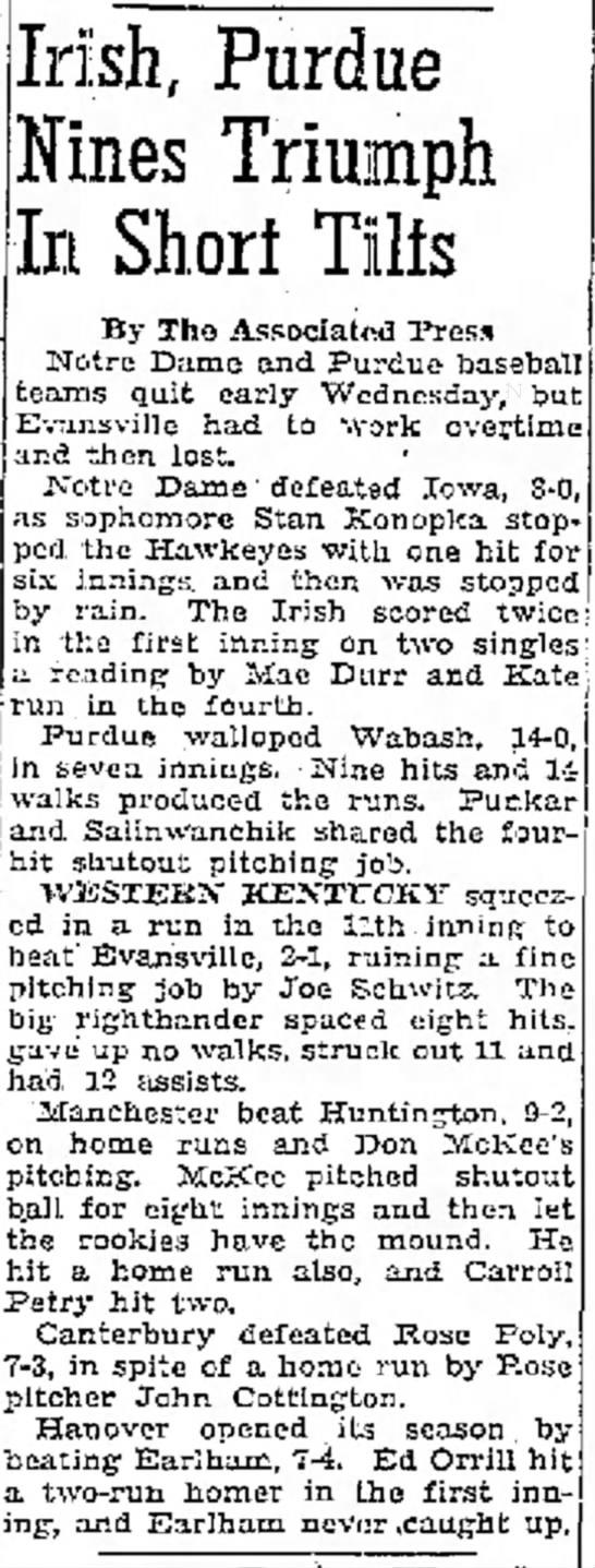 Edward Morris Orrill Jr.- Irish, Purdue... - tour- of in on. Irish, Purdue Nines Triumph In...