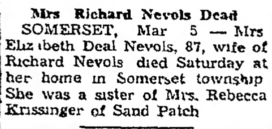 The Daily Courier, Connelsville, PA  5 March 1940 - a tax who Mlrs Richard Nevols Dead SOMERSET,...