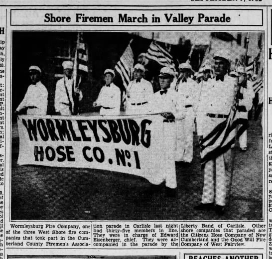 "Worm 32-9-9 county parade photo - - P. Shore Firemen March in Valley Parade """"""..."